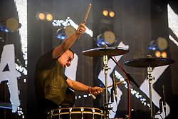 ©London News Pictures. Glastonbury Festival 2015<br /> <br /> SLAVES perform on John Peel stage on Saturday during Glastonbury Festival 2015, Worthy Farm, Pilton.<br /> <br /> Date: 27/06/2015<br /> Photographer: Artur Lesniak /LNP