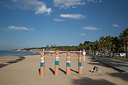 Eastern Beach Prepared For Ironman Race, February 8, 2014 - Triathlon : Geelong Ironman 70.3, Eastern Beach Precinct, Geelong, Victoria, Australia. Credit: Lucas Wroe