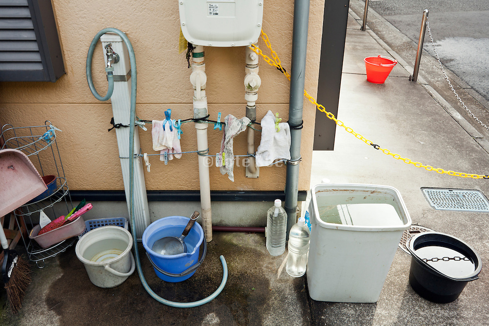 collecting of water at a residential house in Japan