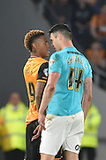 Hull City striker Abel Hernandez (9) and Derby County's Jason Shackell (14) square up after a rough tackle Hull City striker Abel Hernandez (9) during the Sky Bet Championship play off 2nd leg match between Hull City and Derby County at the KC Stadium, Kingston upon Hull, England on 17 May 2016. Photo by Ian Lyall.