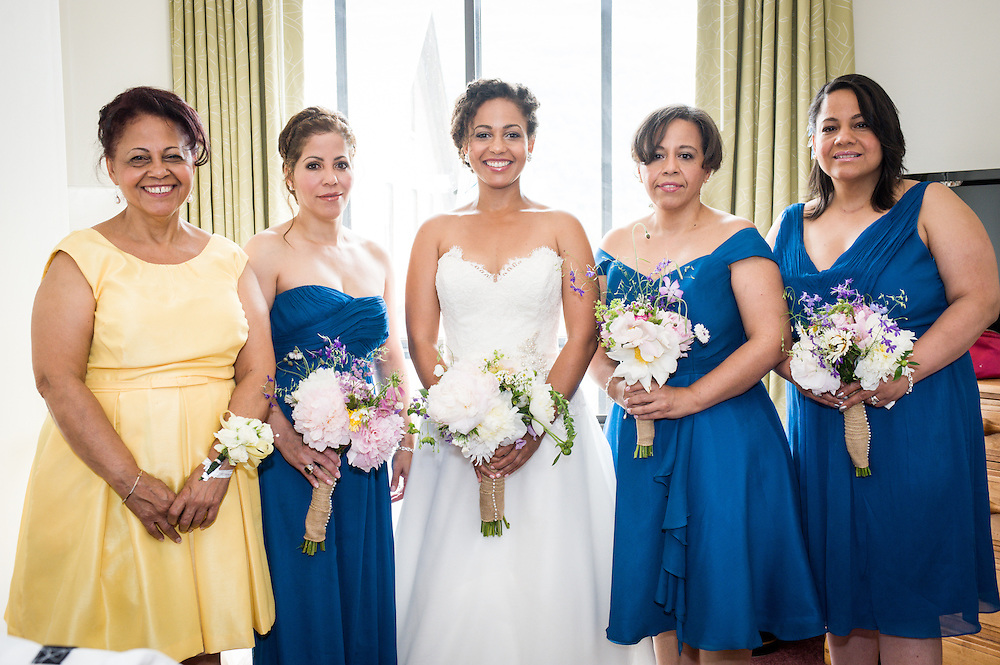 A bride with her sisters and mother in Brattleboro, VT.