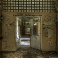 Old unused Soviet sports hospital in East Germany, entrance to the OP rooms
