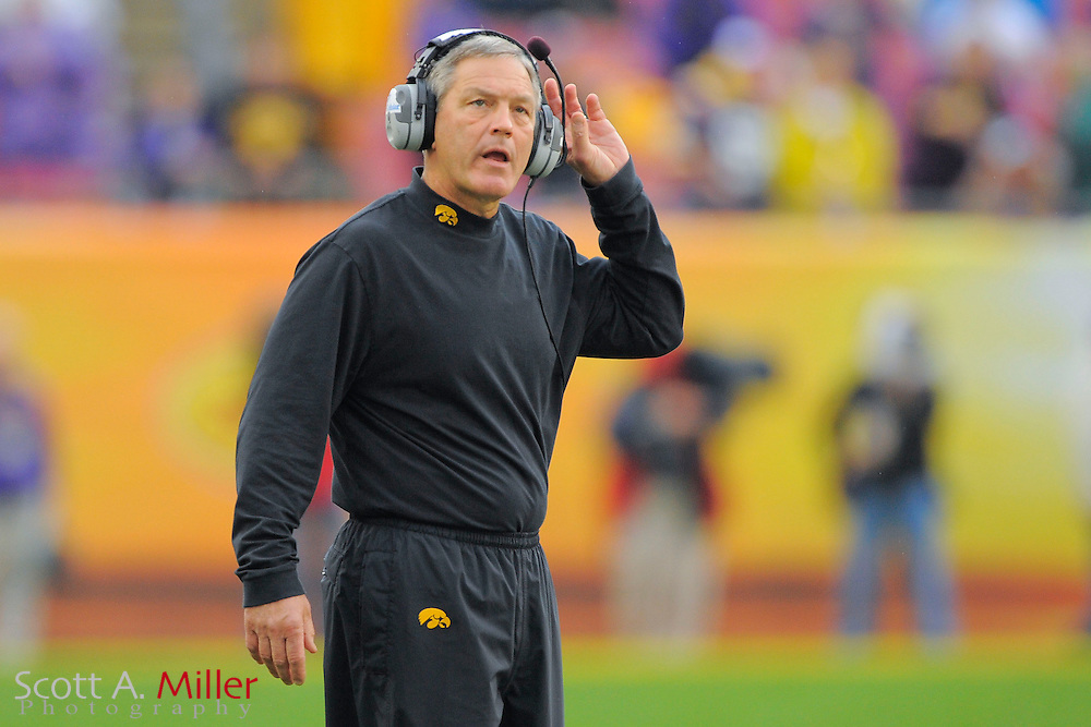Iowa Hawkeyes head coach Kirk Ferentz during the LSU Tigers 21-14 win over the Hawkeyes in the 2014 Outback Bowl at Raymond James Stadium January 1, 2014 in Tampa, Florida.      <br /> <br />  &copy; 2014 Scott A. Miller