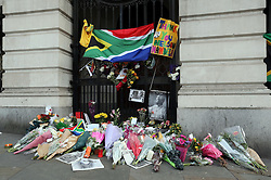Flowers outside South Africa House in London,  Friday, 6th December 2013, following the death Nelson Mandela, Picture by Stephen Lock / i-Images