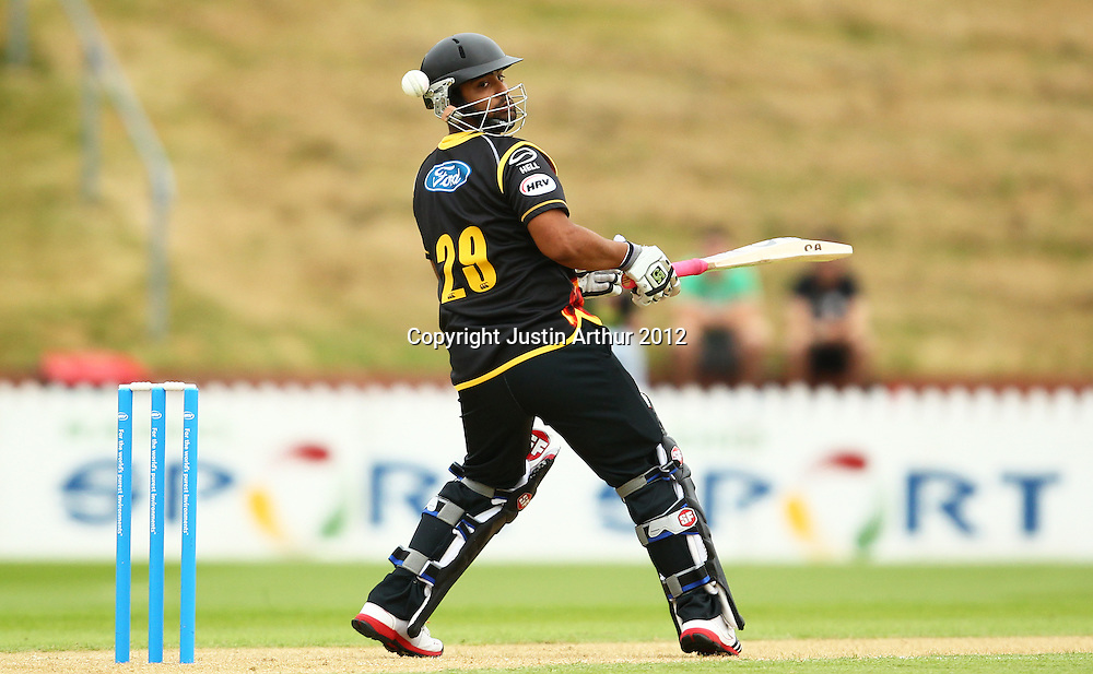 Tamim Iqbal watches the ball during the 2012/2013 HRV Cup Twenty20 session. Wellington Firebirds v Central Stags at the Basin Reserve, Wellington, New Zealand on Wednesday 26 December 2012. Photo: Justin Arthur / photosport.co.nz