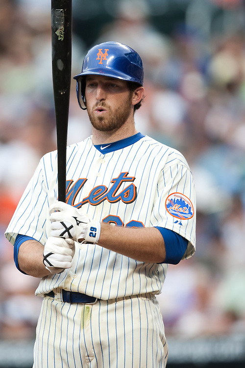 NEW YORK - JULY 10: Ike Davis #29 of the New York Mets bats against the Atlanta Braves at Citi Field on July 10, 2010 in the Queens borough of New York City. The Braves defeated the Mets 4 to 0. (Photo By: Rob Tringali) *** Local Caption *** Ike Davis