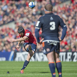 March 30, 2019 - Edinburgh, Scotland, United Kingdom - Tyler Bleyendaal of Munster kicks a conversion during the Heineken Champions Cup Quarter Final match between Edinburgh Rugby and Munster Rugby at Murrayfield Stadium in Edinburgh, Scotland, United Kingdom on March 30, 2019  (Credit Image: © Andrew Surma/NurPhoto via ZUMA Press)