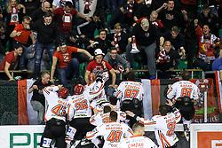Players of Jesenice celebrate during ice hockey match between HDD Olimpija Ljubljana and HDD SIJ Acroni Jesenice in Final of Slovenian League 2016/17, on April 12, 2017 in Hala Tivoli, Ljubljana, Slovenia. Photo by Matic Klansek Velej / Sportida