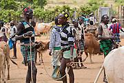 Africa, Ethiopia, Omo region, Ari Tribe men at the cattle market
