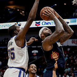 Oct 20, 2017; New Orleans, LA, USA; New Orleans Pelicans forward DeMarcus Cousins (0) shoots over Golden State Warriors forward Kevin Durant (35) during the second half of a game at the Smoothie King Center. The Warriors defeated the Pelicans 128-120.  Mandatory Credit: Derick E. Hingle-USA TODAY Sports
