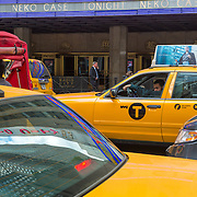 Taxis in front of Radio City Music Hall