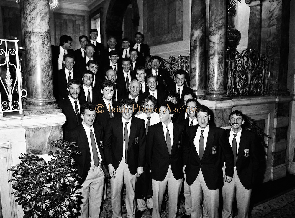 Prior to their return to Mayo, the beaten All Ireland finalists pay a courtesy call to the Department of Foreign Affairs at Iveagh House in Dublin. Mayo had been beaten by Cork in a thrilling final the previous afternoon in Croke Park.<br />
