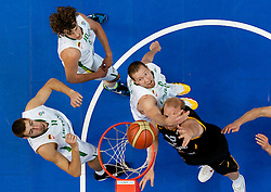 Chris Kaman of Germany faulted by Darius Songaila of Lithuania during basketball game between National basketball teams of Lithuania and Germany at FIBA Europe Eurobasket Lithuania 2011, on September 11, 2011, in Siemens Arena,  Vilnius, Lithuania. Lithuania defeaed Germany 84-75. (Photo by Vid Ponikvar / Sportida)