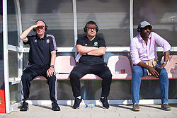 NEWPORT, WALES - Sunday, May 20, 2018: Lennie Lawrence, Welsh Football Trust's Technical Director Osian Roberts and Sol Campbell during day three of the Football Association of Wales' National Coaches Conference 2018 at Dragon Park. (Pic by David Rawcliffe/Propaganda)