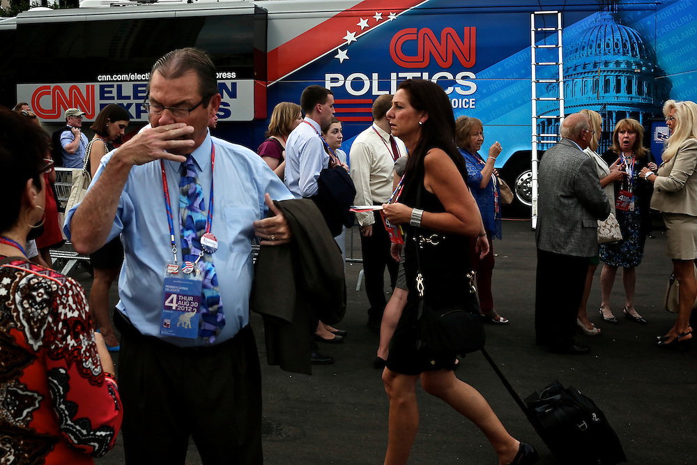 Guests and delegates enter the Tampa Bay Times Forum during the 2012 Republican National Convention in Tampa, Fla. on Aug. 30, 2012.