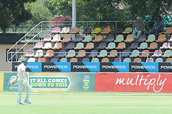 Johannesburg 19-12-18 South Africa Invitation XI vs Pakistan. Pakistan open their tour of South Africa with a three-day match at Sahara Willowmoore Park, Benoni. Day 1.  Neil Brand walks past empty stands after a LBW, 38 runs from 88 balls.<br />           Picture: Karen Sandison/African News Agency(ANA)