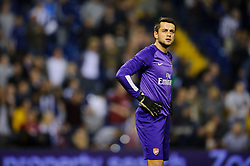 Arsenal Goalkeeper Lukasz Fabianski (POL) looks annoyed after West Brom Forward Saido Berahino scores a goal during the second half of the match - Photo mandatory by-line: Rogan Thomson/JMP - Tel: 07966 386802 - 25/09/2013 - SPORT - FOOTBALL - The Hawthorns - West Bromwich Albion v Arsenal - Capital One Cup Round 3.