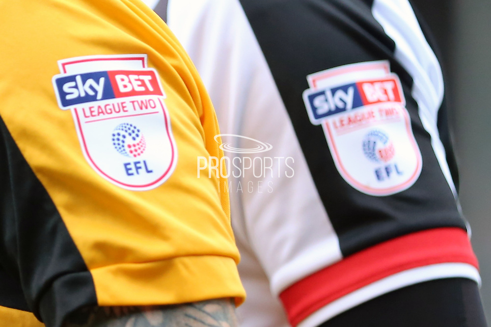 EFL arm badges during the EFL Sky Bet League 2 match between Grimsby Town FC and Port Vale at Blundell Park, Grimsby, United Kingdom on 10 March 2018. Picture by Mick Atkins.