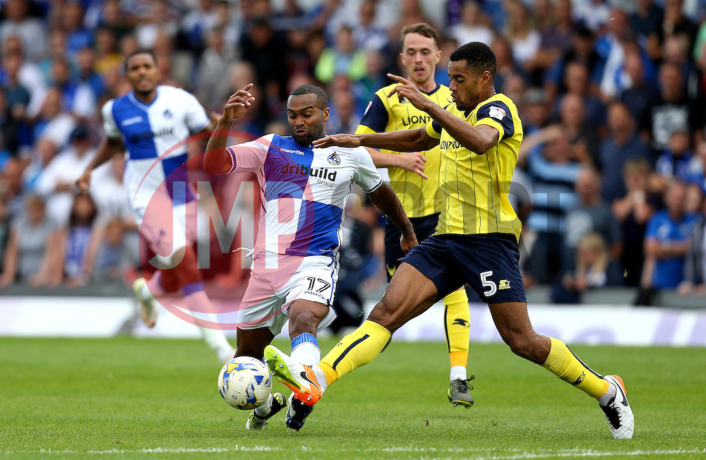 Jermaine Easter of Bristol Rovers is tackled by Curtis Nelson of Oxford United - Mandatory by-line: Robbie Stephenson/JMP - 14/08/2016 - FOOTBALL - Memorial Stadium - Bristol, England - Bristol Rovers v Oxford United - Sky Bet League One