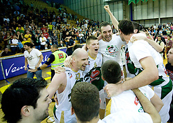 Saso Ozbolt, Marko Maravic, Jaka Klobucar, Mirza Begic of Union Olimpija celebrate at third finals basketball match of Slovenian Men UPC League between KK Union Olimpija and KK Helios Domzale, on June 2, 2009, in Arena Tivoli, Ljubljana, Slovenia. Union Olimpija won 69:58 and became Slovenian National Champion for the season 2008/2009. (Photo by Vid Ponikvar / Sportida)