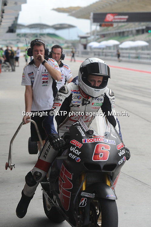 Sepang International Circuit,2nd February 2012, Thursday.. Stefan Bradl (GER) of LCR Honda gets ready to go into the circuit  during the 2012 Pre Season Moto GP testing  <br /> Moto Grand Prix 2012 - SEPANG Circuit, Malaysia near Kuala Lumpur . MotoGP class, motorcycle racing -  Motorrad GP - Fee liable image - copyright &copy; ATP Thinakaran SHANMUGAM