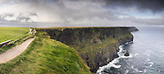 A panoramic view of stormy clouds over the cliffs of Moher in Co. Clare, Ireland.