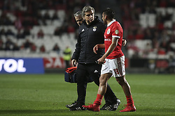February 3, 2018 - Lisbon, Portugal - Benfica's forward Eduardo Salvio (R) leaves the pitch injured during the Portuguese League  football match between SL Benfica and Rio Ave FC at Luz  Stadium in Lisbon on February 3, 2018. (Credit Image: © Carlos Costa/NurPhoto via ZUMA Press)