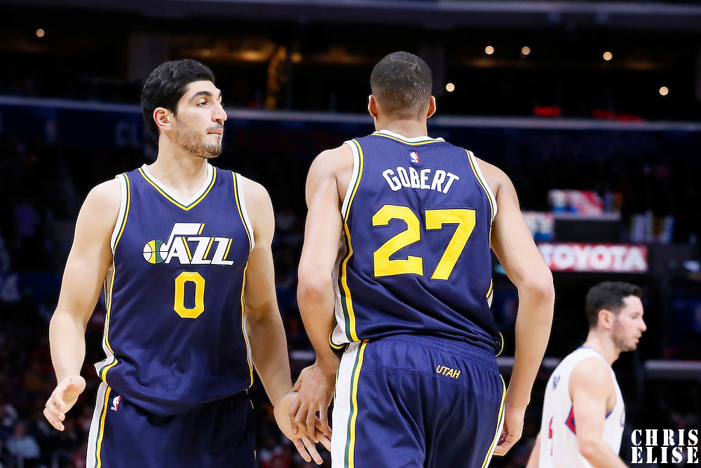 17 October 2014: Utah Jazz center Enes Kanter (0) is seen next to Utah Jazz center Rudy Gobert (27) during the Los Angeles Clippers 101-97 victory over the Utah Jazz, in a preseason game, at the Staples Center, Los Angeles, California, USA.