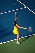 CINCINNATI, OH - AUGUST 16: Jelena Jankovic of Serbia in serves during the women's singles final against top-ranked Dinara Safina of Russia in the Western & Southern Financial Group Women's Open on August 16, 2009 at the Lindner Family Tennis Center in Cincinnati, Ohio. Jankovic defeated Safina 6-4, 6-2. (Photo by Joe Robbins)