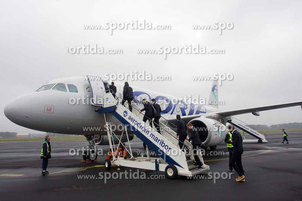 Adria's aircraft Airbus A319 at departure of Slovenia's National football team to Belfast, Northern Ireland for EURO 2012 Quaifications game between National teams of Slovenia and Northern Ireland, on March 28, 2011, at Airport Edvard Rusjan, Maribor, Slovenia. (Photo by Vid Ponikvar / Sportida)