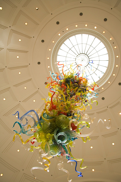"""End of the Day"" chandelier of glass art by Dale Chihully in Union Station, Tacoma, Washington, USA"
