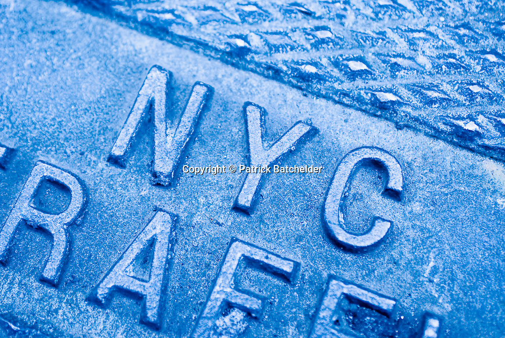 Closeup view of a manhole cover in New York City.