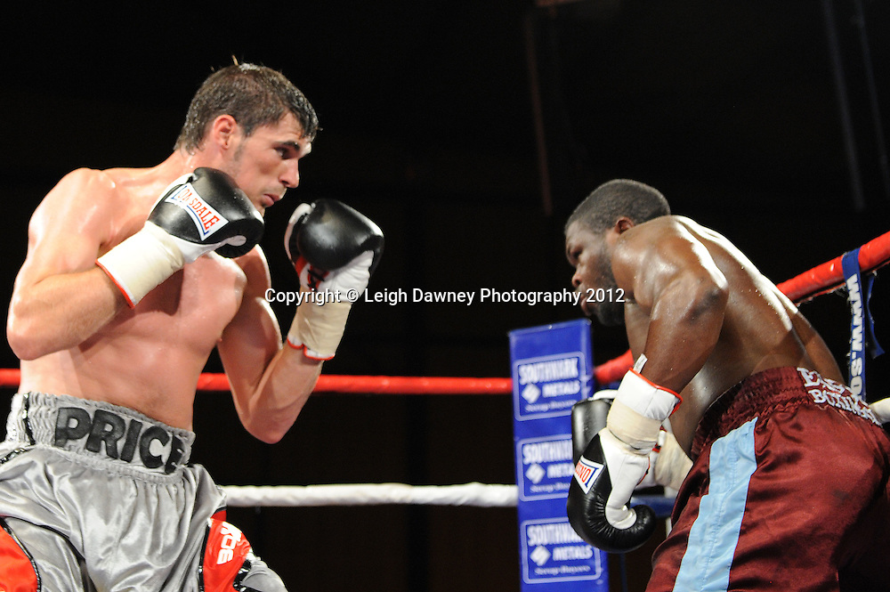 Danny Price defeats Moses Matovu in a 6x3 min Cruiserweight contest at the Bowlers Exhibition Centre, Manchester on the 2nd June 2012. Frank Maloney Promotions © Leigh Dawney Photography 2012.