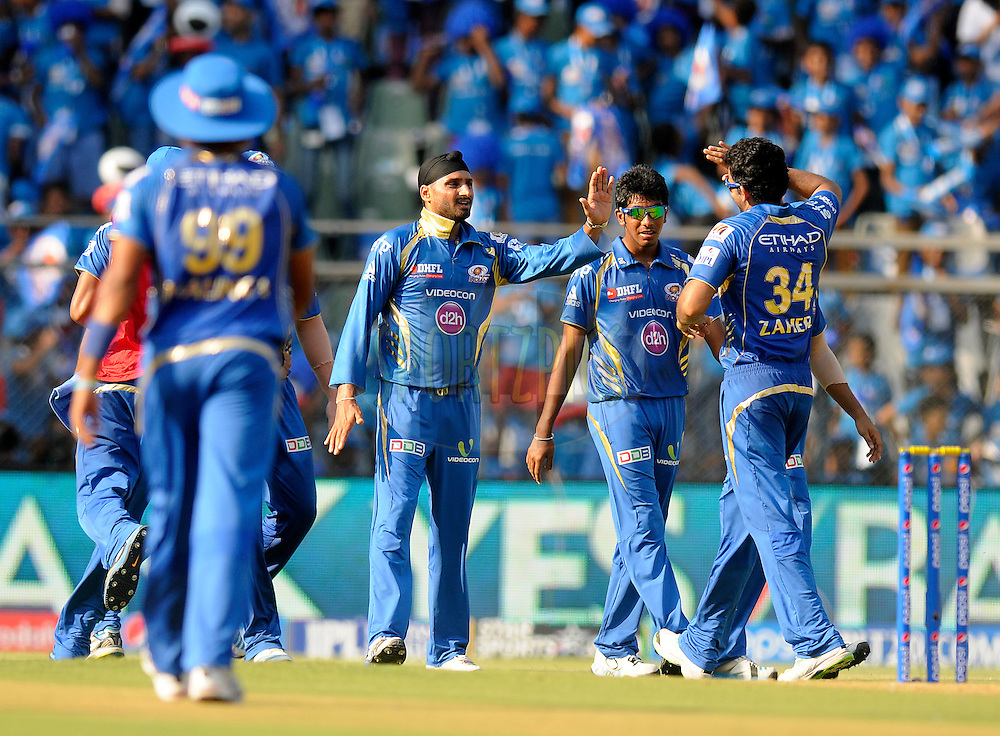 Harbhajan Singh of the Mumbai Indians celebrates the wicket of Glenn Maxwell of the Kings X1 Punjab during match 22 of the Pepsi Indian Premier League Season 2014 between the Mumbai Indians and the Kings XI Punjab held at the Wankhede Cricket Stadium, Mumbai, India on the 3rd May  2014<br /> <br /> Photo by Pal Pillai / IPL / SPORTZPICS<br /> <br /> <br /> <br /> Image use subject to terms and conditions which can be found here:  http://sportzpics.photoshelter.com/gallery/Pepsi-IPL-Image-terms-and-conditions/G00004VW1IVJ.gB0/C0000TScjhBM6ikg