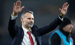 CARDIFF, WALES - Tuesday, November 19, 2019: Wales' manager Ryan Giggs thanks spectators after the final UEFA Euro 2020 Qualifying Group E match between Wales and Hungary at the Cardiff City Stadium where Wales won 2-0 and qualified for Euro 2020. (Pic by Laura Malkin/Propaganda)