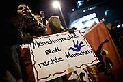Frankfurt am Main | 02 Feb 2015<br /> <br /> Am Montag (02.02.2015) demonstrierten in Frankfurt an der Hauptwache etwa 60 PEGIDA-Anh&auml;nger mit teils extrem rassistischen Reden und Parolen z.B: gegen &quot;Islamisierung&quot;, an den Aktionen gegen die Rechtsextremisten nahmen mehrere tausend Menschen teil.<br /> Hier: Gegendemonstranten mit einem Plakat mit der Aufschrift 'Menschenrechte statt rechte Menschen'.<br /> <br /> &copy;peter-juelich.com<br /> <br /> [No Model Release | No Property Release]