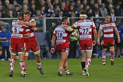 Gloucester second row Ed Slater (5) celebrates his game winning try second half  during the Aviva Premiership match between Bath Rugby and Gloucester Rugby at the Recreation Ground, Bath, United Kingdom on 29 October 2017. Photo by Gary Learmonth.