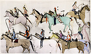 The End of the Battle'. Sioux warriors leading away captured horses after defeating the American army under George Armstrong Custer (1839-1876) at the  Battle of Little Bighorn, Montana, known as Custer's Last Stand when he and his 264 men were killed.  Painting c1900 by Amos Bad Heart Buffalo.
