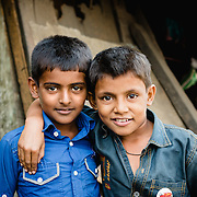 Indian boys at Baiganwadi slum, Mumbai