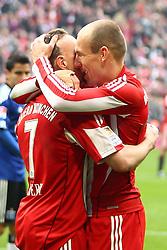 12.03.2011, Allianz Arena, Muenchen, GER, 1.FBL, FC Bayern Muenchen vs Hamburger SV, im Bild  Jubel nach dem 3-0 durch Arjen Robben (Bayern #10)mit Franck Ribery (Bayern #7)  , EXPA Pictures © 2011, PhotoCredit: EXPA/ nph/  Straubmeier       ****** out of GER / SWE / CRO  / BEL ******