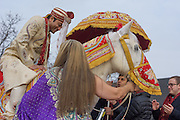Baltimore, Maryland - December 20, 2014: Eshwan Ramudu mounts Chico, a male 22 year-old, Andalusian horse, from Mt. Airy, MD outside the Baltimore Marriott Waterfront Hotel for his baraat. He wears a beaded veil called a Sehra. <br /> <br /> Trisha Satya Pasricha and Eshwan Ramudu married at the Baltimore Marriott Waterfront Hotel December 20, 2014. <br /> <br /> <br /> CREDIT: Matt Roth for The New York Times<br /> Assignment ID: 30168620A