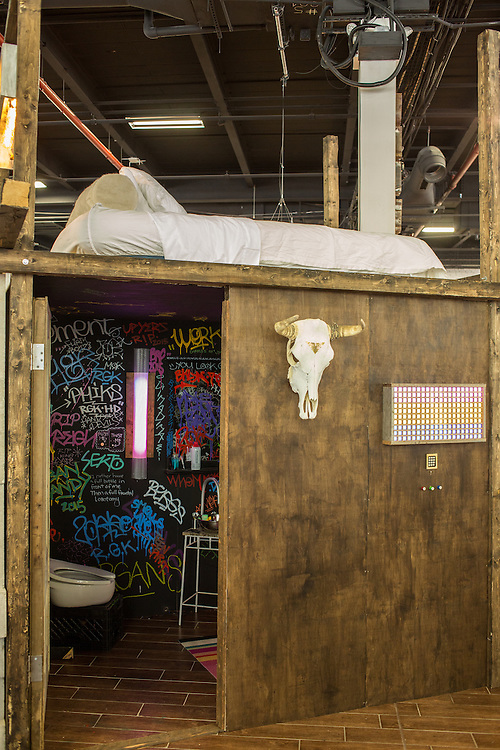 A loft bed in the booth of Urban Chandy at BklynDesigns at the Brooklyn Expo Center in Greenpoint. BklynDesigns is part of NYCxDesign, a week-long design festival in New York City.