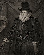 Thomas Cecil (1542-1623) 1st Earl of Exeter and  2nd Baron Burghley. English soldier. Crushed the Earl of Essex's rebellion (1601). Engraving.
