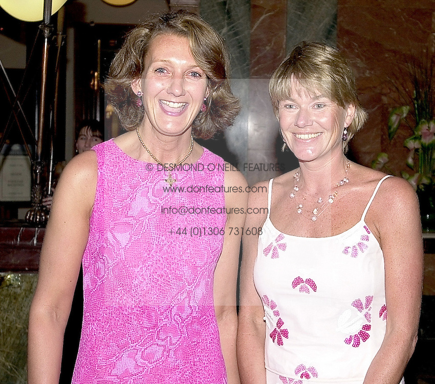 Left to right, MRS CATHERINE SOAMES and MRS SIMON SLATER<br />  they were friends of the late Diana, Princess of Wales, at a party in London on 15th May 2000.<br /> OEB 111