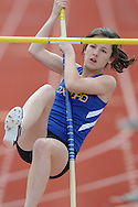 Oxford High's Meredith Sanford pole vaults during a track meet at Oxford High School in Oxford, Miss. on Saturday, March 13, 2010.