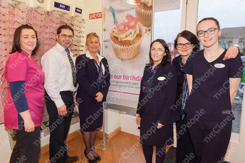 Staff of Ennis Specsavers at their 10th Birthday Celebrations<br /> LtoR: Regina Conroy, Richard Dwyer, Caroline Weeks, Rose O'Sullivan, Gosia Olszowka and Una Kelly
