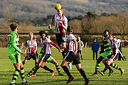 Cheltenham Town defence clear a FGR attack during the The Central League match between Cheltenham Town Reserves and Forest Green Rovers Reserves at The Energy Check Training Ground, Cheltenham, United Kingdom on 28 November 2017. Photo by Shane Healey.