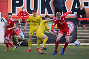 Accrington Stanley defender Harvey Rodgers (18) shields the ball during the EFL Sky Bet League 1 match between Accrington Stanley and Fleetwood Town at the Fraser Eagle Stadium, Accrington, England on 30 March 2019.
