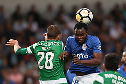 September 8, 2017 - Santa Maria Da Feira, Aveiro, Portugal - Sporting's Netherlands forward Bas Dost (L) vies with Feirense's defender Jean Sony (R) during the Premier League 2017/18 match between CD Feirense and Sporting CP, at Marcolino de Castro Stadium in Santa Maria da Feira on September 8, 2017. (Credit Image: © Dpi/NurPhoto via ZUMA Press)