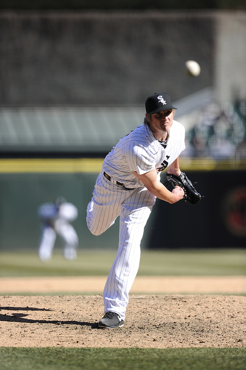 CHICAGO - APRIL 03:  Addison Reed #43  of the Chicago White Sox pitches against the Kansas City Royals on April 3, 2013 at U.S. Cellular Field in Chicago, Illinois.  The White Sox defeated the Royals 5-2.  (Photo by Ron Vesely)   Subject: Addison Reed